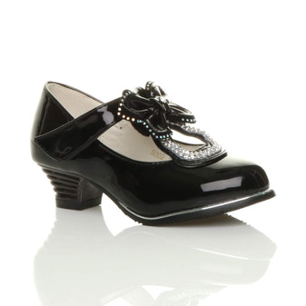 Front right side view of Black Patent Bow Butterfly T-Bar Court Shoes