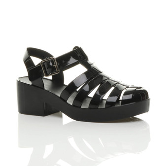 Front right side view of Black Mid Heel Gladiator Jelly Sandals