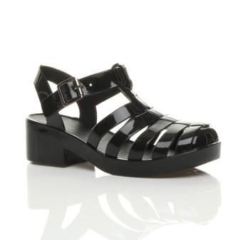 Front right side view of Black Mid Heel Gladiator Jelly Kids Sandals