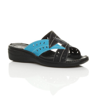 Front right side view of Black Blue PU Mid Wedge Heel Cut Out Mules Sandals