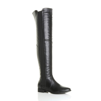 Front right side view of Black PU Flat Stretch Chelsea Over The Knee Boots