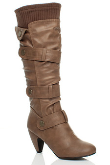 Front right side view of Tan PU High Heel Slouch Knitted Collar Calf Knee Boots