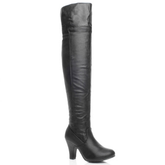 Front right side view of Black PU High Heel Fold Over Cuff Over The Knee Boots