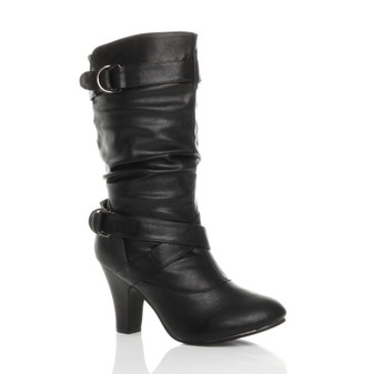 Front right side view of Black PU Mid Heel Slouch Calf Boots