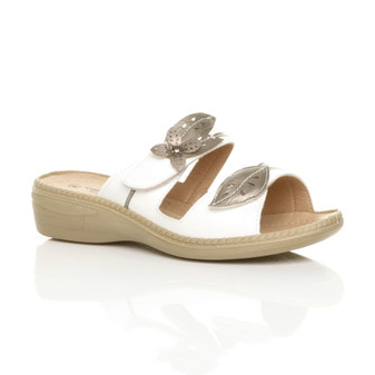 Front right side view of Pewter / White PU Low Heel Mules Comfort Sandals