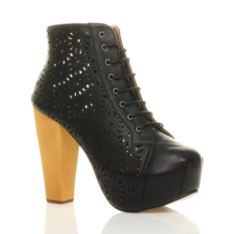 Front right side view of Black PU High Wooden Heel Cut Out Platform Ankle Boots