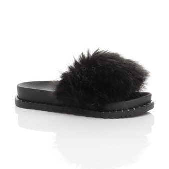 Front right side view of Black Fur Flatform Studded Fluffy Faux Fur Sliders Sandals