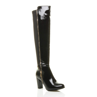 Front right side view of Black Patent High Heel Gold Zip Over The Knee Boots