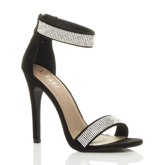 Front right side view of Black Suede High Heel Diamante Ankle Strap Sandals
