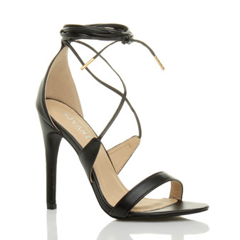 Front right side view of Black PU High Heel Lace Up Barely There Sandals