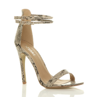 Front right side view of Beige Snake PU High Heel Strappy Barely There Sandals