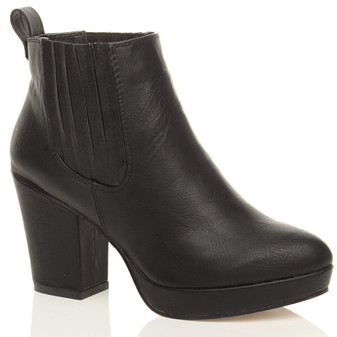Front right side view of Black PU High Block Heel Chelsea Ankle Boots