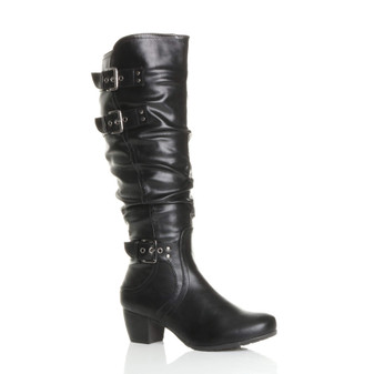 Front right side view of Black PU Mid Cuban Heel Ruched Slouch Calf Boots