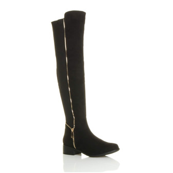 Front right side view of Black Suede Low Heel Gold Zip Stretch Over The Knee Boots