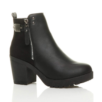Front right side view of Black PU High Block Heel Zip Ankle Boots