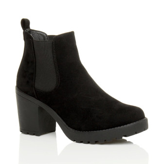 Front right side view of Black Suede High Block Heel Chelsea Stretch Ankle Boots