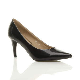 Front right side view of Black Patent Mid Heel Pointed Court Shoes