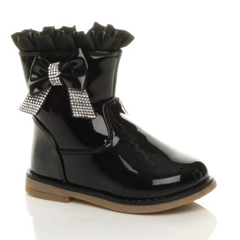 Front right side view of Black Patent Infants Toddlers Diamante Bow Frilly Calf Boots
