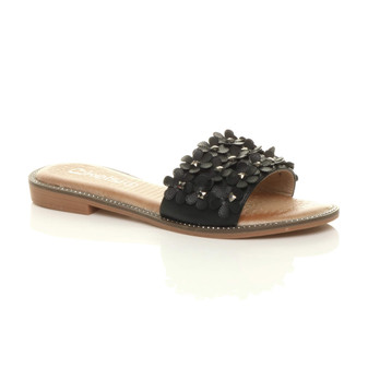 Front right side view of Black PU Flat Diamante Flower Studded Flip Flop Sandals