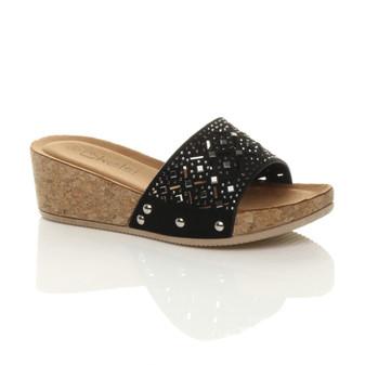 Front right side view of Black Mid Wedge Heel Cork Diamante Platform Sandals Flip Flops