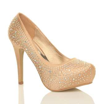 Front right side view of Gold Diamante Satin High Heel Diamante Platform Court Shoes