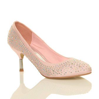 Front right side view of Baby Pink Satin Mid Heel Diamante Court Shoes