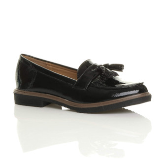 Front right side view of Black Patent Flat Low Heel Fringe Tassel Loafers Shoes