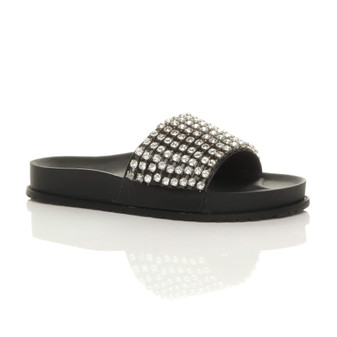 Front right side view of Black PU Flatform Diamante Metallic Platform Sliders Sandals