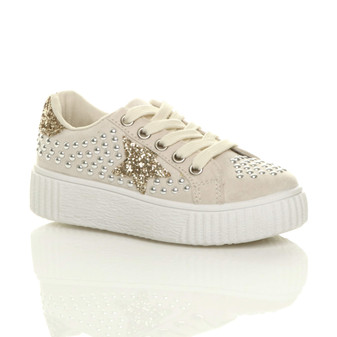 Front right side view of Beige Suede Flatform Star Studded Glitter Platform Trainers