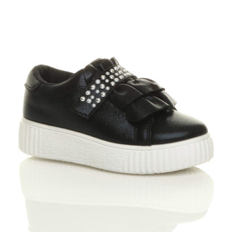 Front right side view of Black Flatform Ruffle Studded Platform Trainers