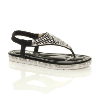 Front right side view of Black Flatform Toe Post Diamante T-Bar Comfort Slingback Sandals