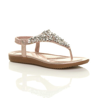 Front right side view of Rose Gold Flat Padded Slingback Comfort T-Bar Diamante Sandals