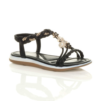 Front right side view of Black Flat Padded T-Bar Strappy Diamante Pearl Flower Comfort Sandals