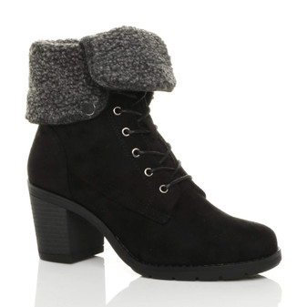 Front right side view of Black Suede Mid Block Heel Fur Collar Lined Ankle Boots