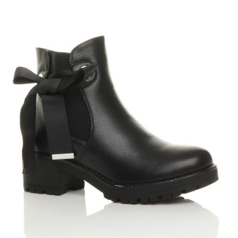 Front right side view of Black PU Low Mid Block Heel Bow Ribbon Biker Chelsea Ankle Boots