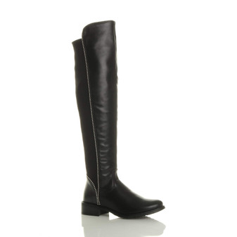 Front right side view of Black PU Low Heel Beaded Over The Knee Boots size