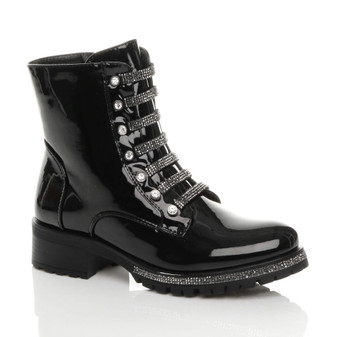 Front right side view of Black Patent Mid Block Heel Diamante Combat Biker Military Ankle Boots