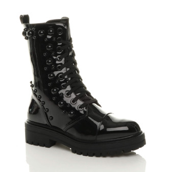 Front right side view of Black Patent Mid Block Heel Punk Goth Studded Military Combat Ankle Boots