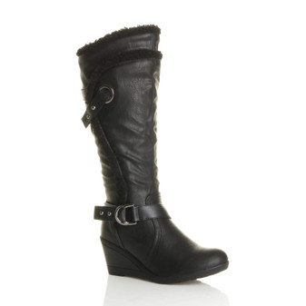 Front right side view of Black PU Mid Heel Wedge Fur Trim Calf Boots