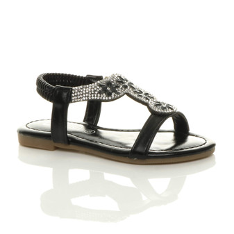 Front right side view of Black Infants Flat Diamante T-Bar Slingback Sandals
