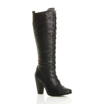 Front right side view of Black PU High Heel Biker Military Calf Boots