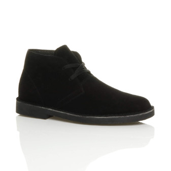 Front right side view of Black Suede Leather Lace Up Ankle Desert Boots