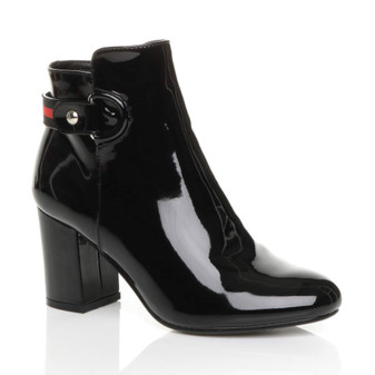 Front right side view of Black Patent Mid High Block Heel Smart Zip Ankle Boots