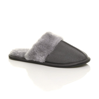 Front right side view of Grey Suede Slip On Lightweight Memory Foam Mules Slippers