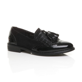 Front right side view of Black PU Low Heel Flat Fringe Tassel Slip On Brogue Loafers