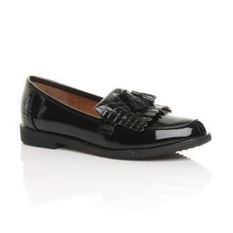Front right side view of Black Patent Flat Low Heel Croc Tassel Fringe Slip On Loafers Shoes