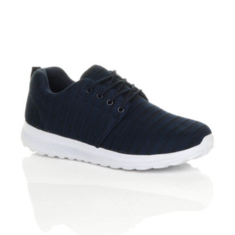 Front right side view of Navy Lace Up Fitness Sport Gym Trainers Sneakers