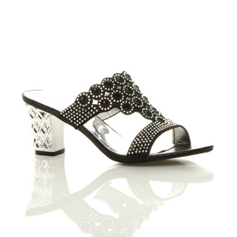 Front right side view of Black Mid Heel Diamante Gem Mules Sandals
