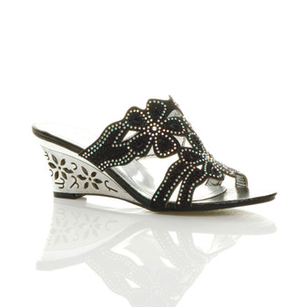 Front right side view of Black Mid Heel Wedge Diamante Flower Mules Sandals