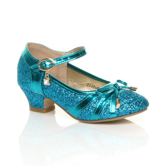 Front right side view of Ice Queen Blue Low Heel Bow Diamante Court Shoes